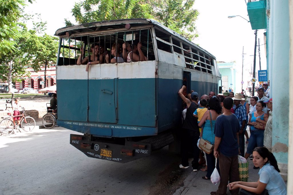 Local bus transport, Holguin, Cuba : Stock Photo