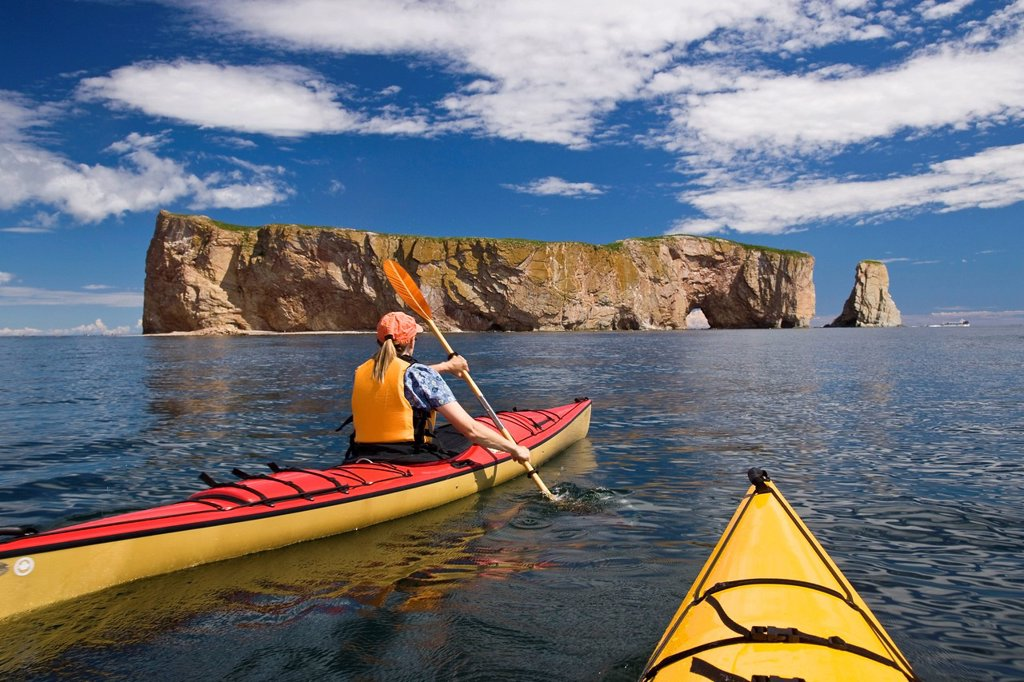 Stock Photo: 1990-54949 Sea_kayaking near Perce Rock, Gaspe, Quebec, Canada.