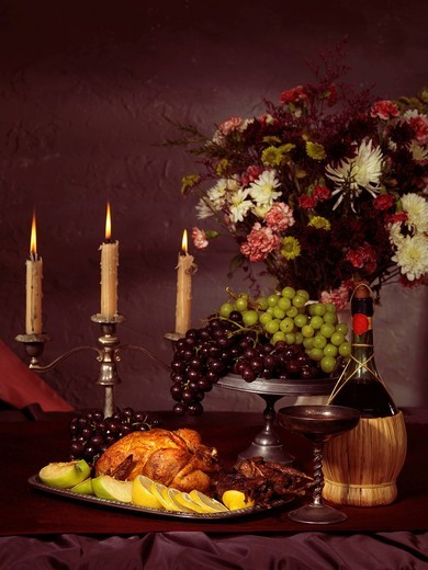 Artistic food still life of festive meal on a table : Stock Photo