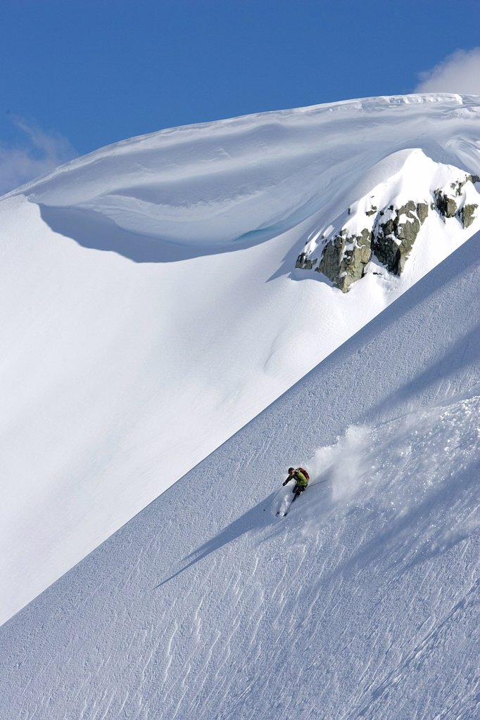 Stock Photo: 1990-55740 Skier in the backcountry, Whistler, BC, Canada
