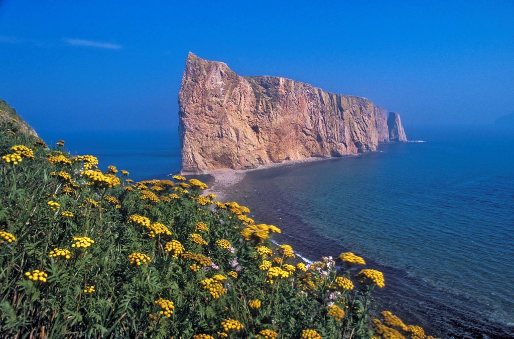 Stock Photo: 1990-55782 Perce Rock, composed of limestone, rises majestically from the Gulf of St. Lawrence at the tip of the Gaspe Peninsula near the town of Perce, Quebec, Canada.
