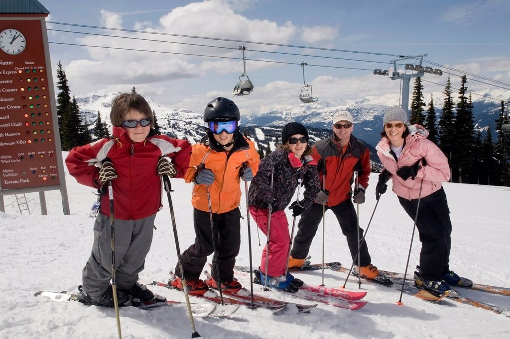 Stock Photo: 1990-55930 Family enjoying a day of skiing, Whistler, British Columbia, Canada.
