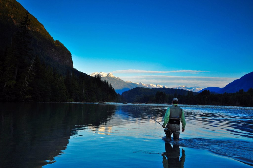 Man fly fishing, Dean River, British Columbia, Canada : Stock Photo