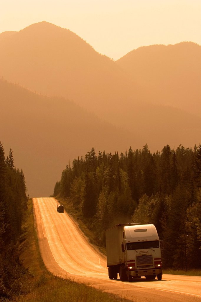 Traffic on Trans Canada Highway near Field, British Columbia, Canada. : Stock Photo