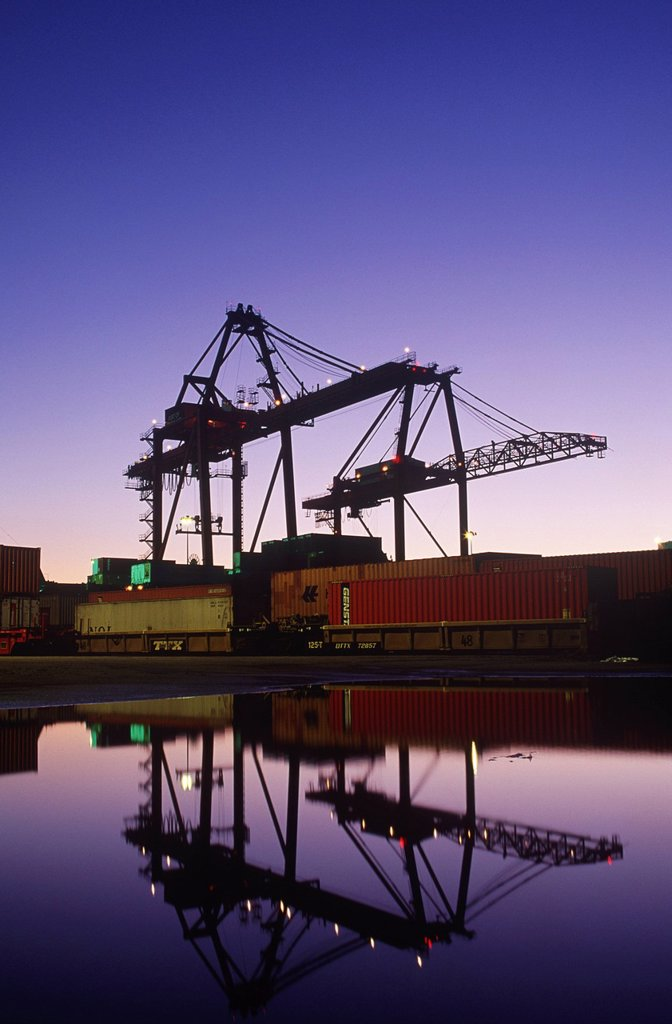 Stock Photo: 1990-57179 Port of Vancouver at dusk, Vancouver, British Columbia, Canada.