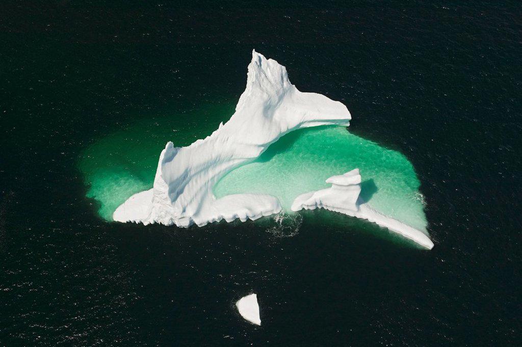 Stock Photo: 1990-5795 aerial view of Iceberg, near Merritt´s Habour, Kittiwake Coast, Newfoundland, Canada