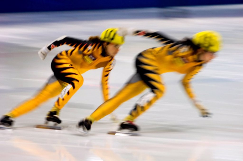 Stock Photo: 1990-5838 Canadian Short-track speed skating competition  500 m sprint heats, Countryside Arena, Sudbury, Ontario, Canada