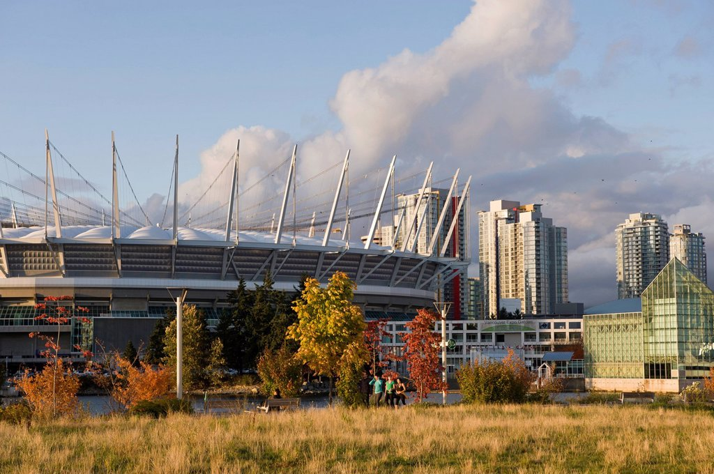 Stock Photo: 1990-58558 City skyline with new retractable roof on BC Place Stadium, False Creek, Vancouver, British Columbia, Canada