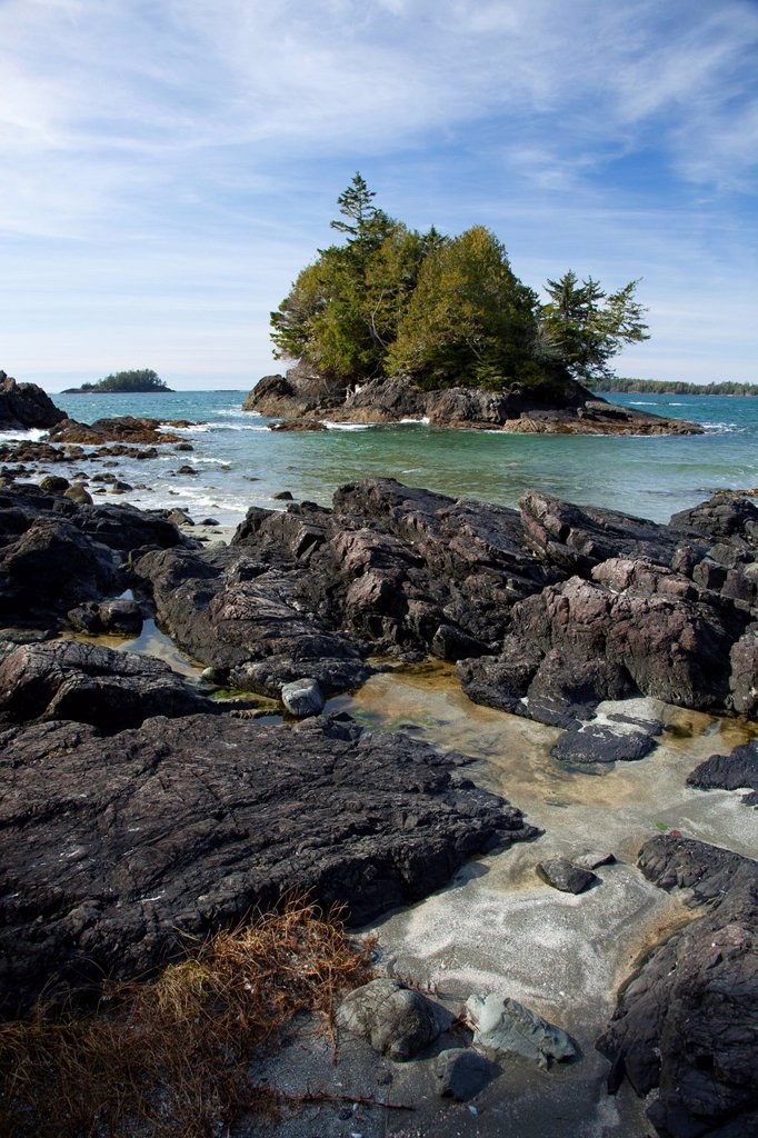 Crystal Cove at MacKenzie Beach near Tofino, British Columbia, Canada on Vancouver Island in Clayoquot Sound UNESCO Biosphere Reserve. : Stock Photo
