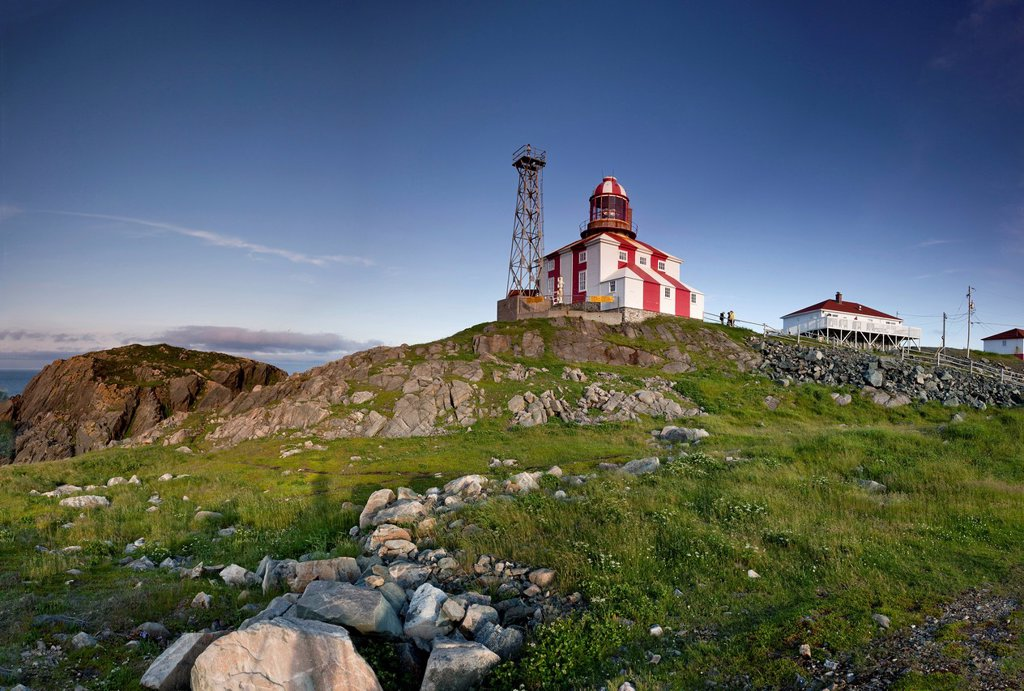 Cape Bonavista Lighthouse Provincial Historic Site of Newfoundland and Labrador, Canada _ a digitally stitched horizontal/panoramic image made from vertical originals : Stock Photo