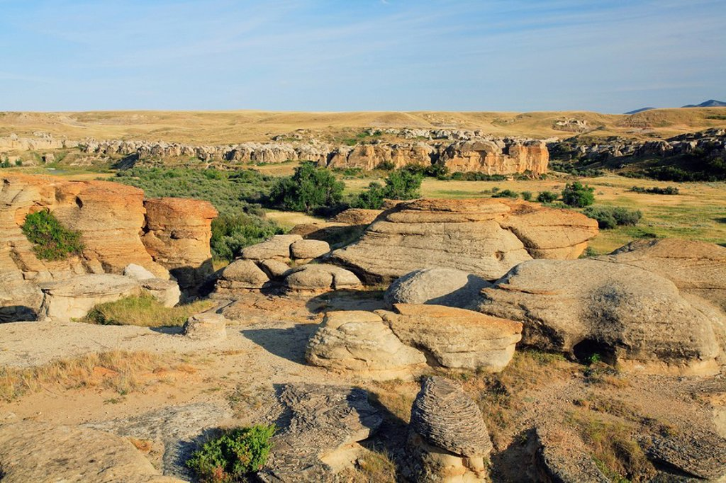 Hoodoos in Writing-on-Stone Provincial Park in near Milk River in the Alberta badlands, southern Alberta, Canada : Stock Photo