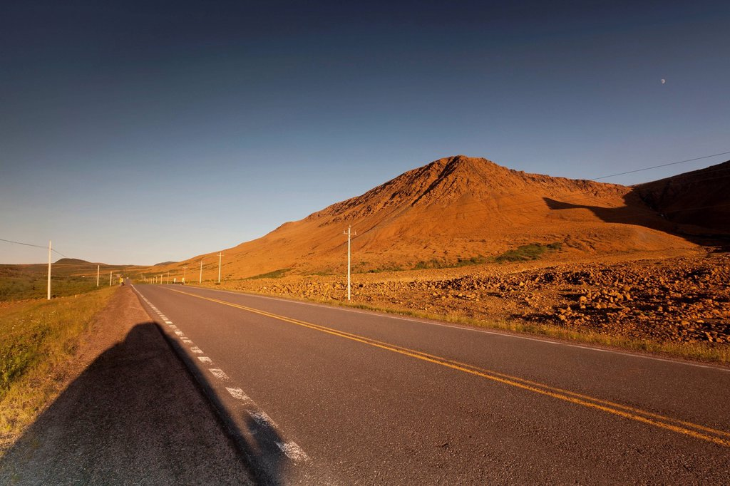 Stock Photo: 1990-60782 The highway passes right through the Tablelands in Gros Morne National Park, Newfoundland and Labrador, Canada