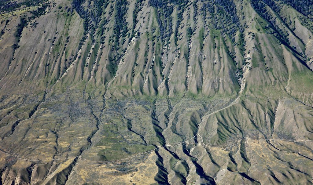 Stock Photo: 1990-61138 Aerial photography over the Fraser Canyon in the South Cariboo Chilcotin region of British Columbia Canada