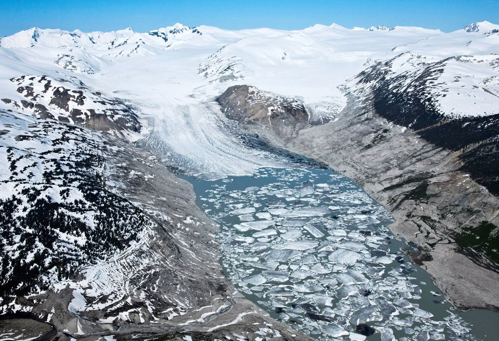 Stock Photo: 1990-61155 Aerial photography over the Bridge River Glacier in the South Cariboo Chilcotin region of British Columbia Canada