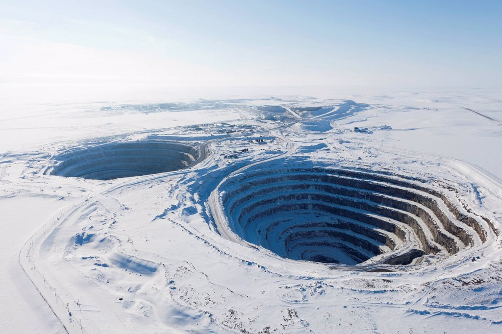 Stock Photo: 1990-61951 Diavik Rio Tinto Diamond Mine quarries, Lac de Gras kimberlite field, Northwest Territories, Canada