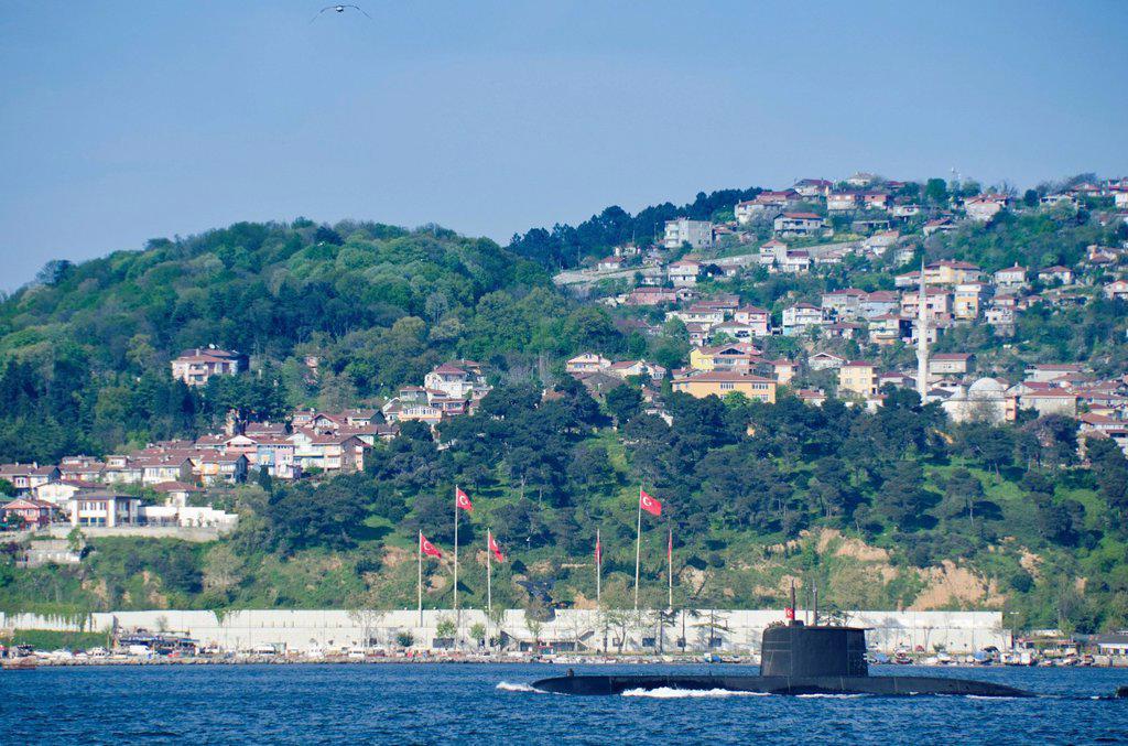 Turkish submarine along the Bosphorus, Istanbul, Turkey : Stock Photo