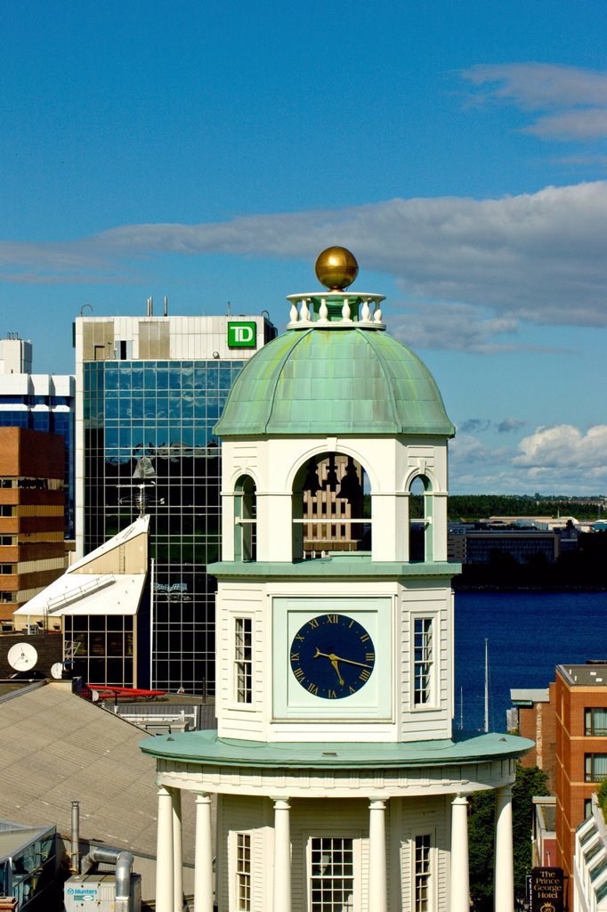 Stock Photo: 1990-62526 The Citadel fort clock tower in the foreground with downtown Halifax in background, Nova Scotia, Canada