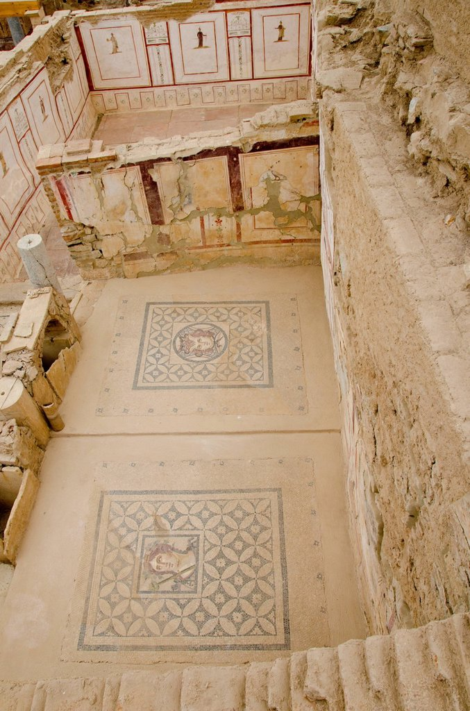 The roman apartments unearthed at Ephesus, an ancient Greek city, and later a major Roman city, on the west coast of Asia Minor, near present_day Selçuk, Izmir Province, Turkey : Stock Photo