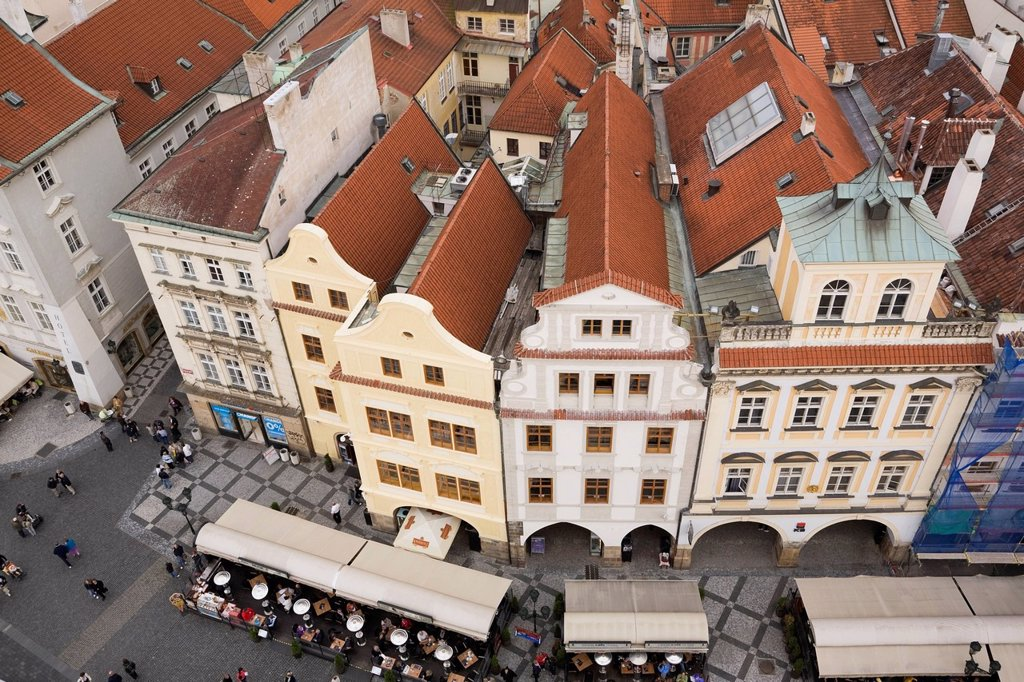 Stock Photo: 1990-64352 Terracotta Rooftop buildings, Old Town Square, Prague, Czech Republic