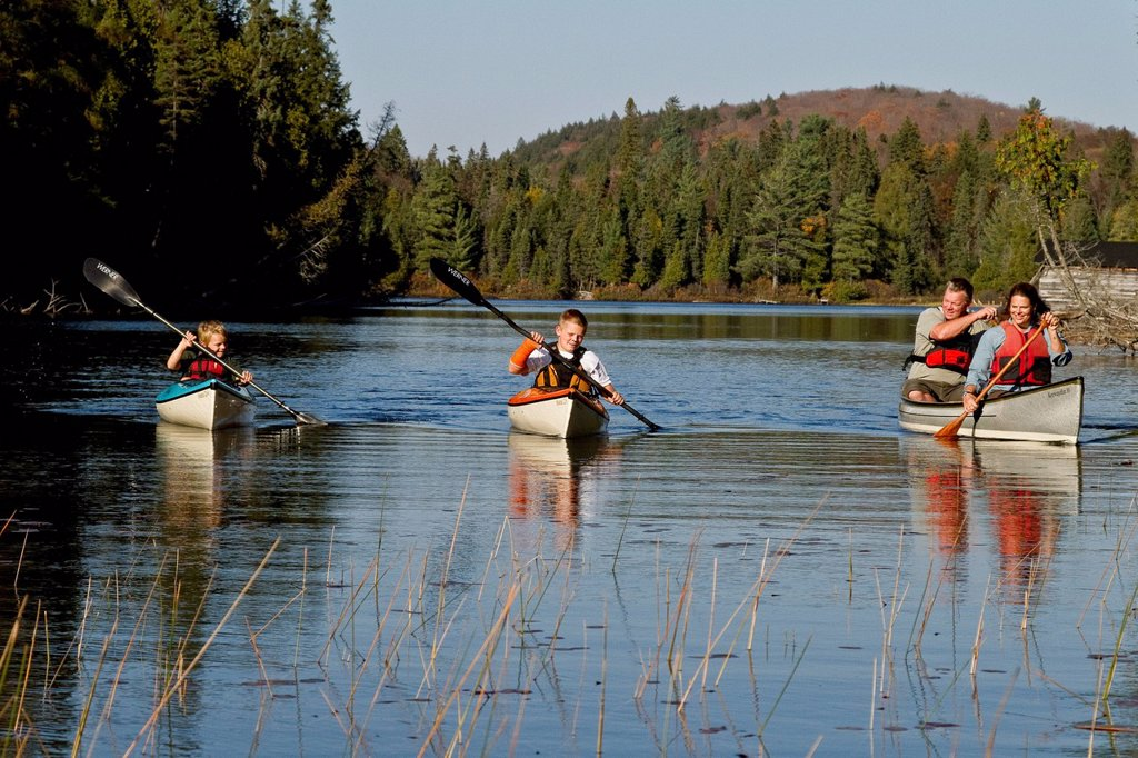 Stock Photo: 1990-64738 Family canoeing on Source Lake, Algonquin Park, Ontario, Canada.