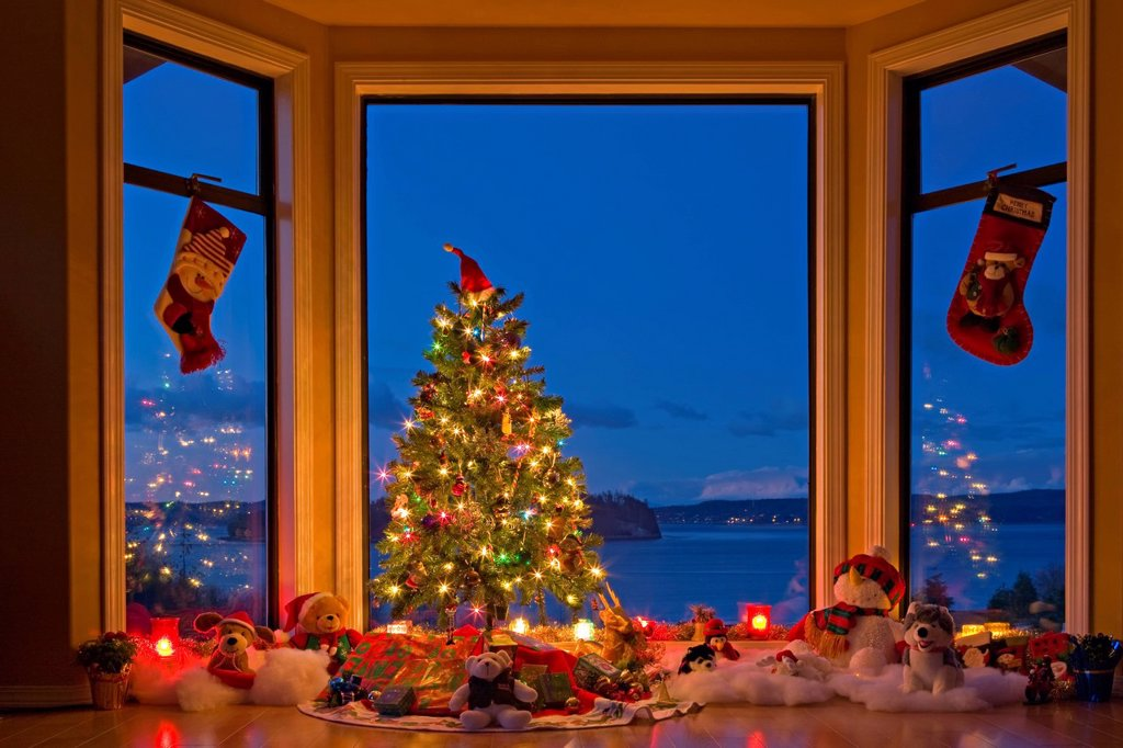 Stock Photo: 1990-65759 Christmas Tree with lights, decorations, and gifts in a window at dusk, The Artists Point, Hyde Creek, Port McNeill, Northern Vancouver Island, Vancouver Island, British Columbia, Canada.