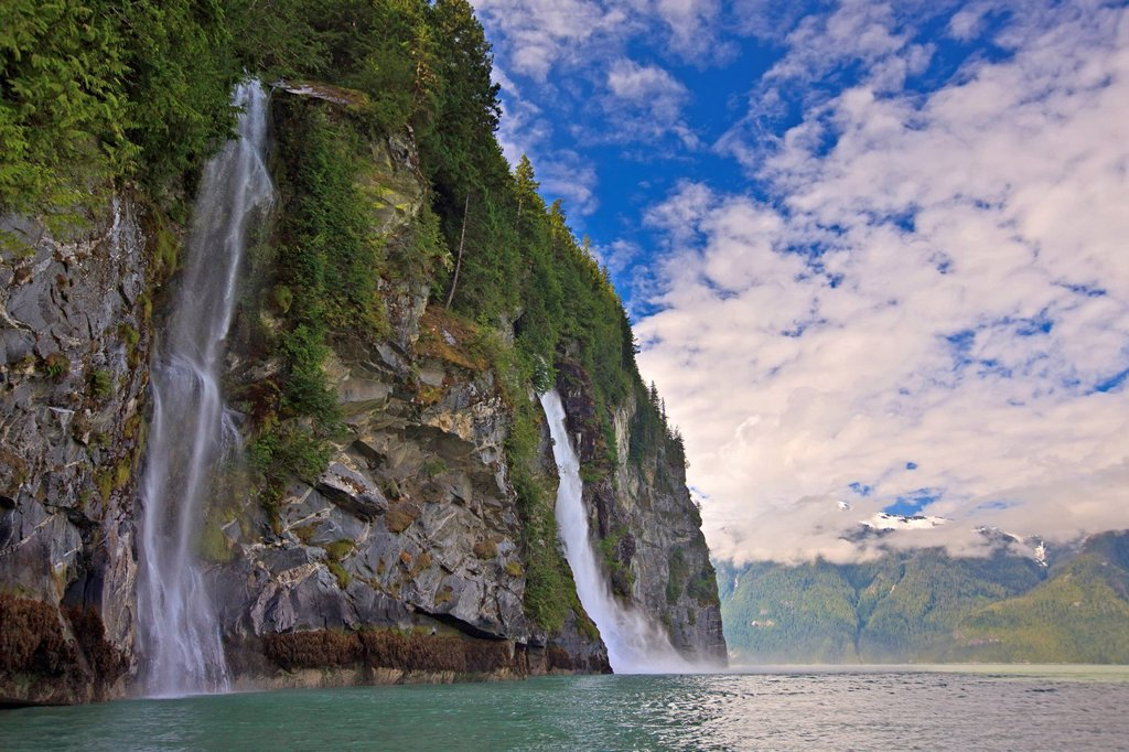 Cascade Point Waterfall, Broughton Archipegalo, British Columbia, Canada : Stock Photo