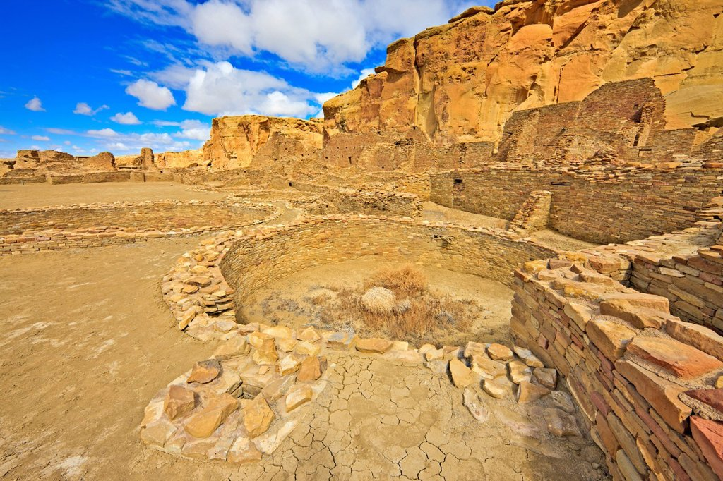 Stock Photo: 1990-66112 Great Kiva, Pueblo Bonito, Chaco Culture National Historic Park, New Mexico, USAChaco Culture National Historic Park, New Mexico, USA