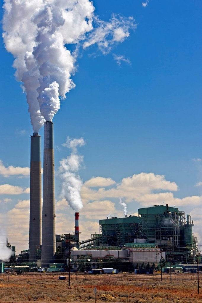 Stock Photo: 1990-66132 Coal_fired Cholla Power Plant with smoking smokestacks, Arizona, USA