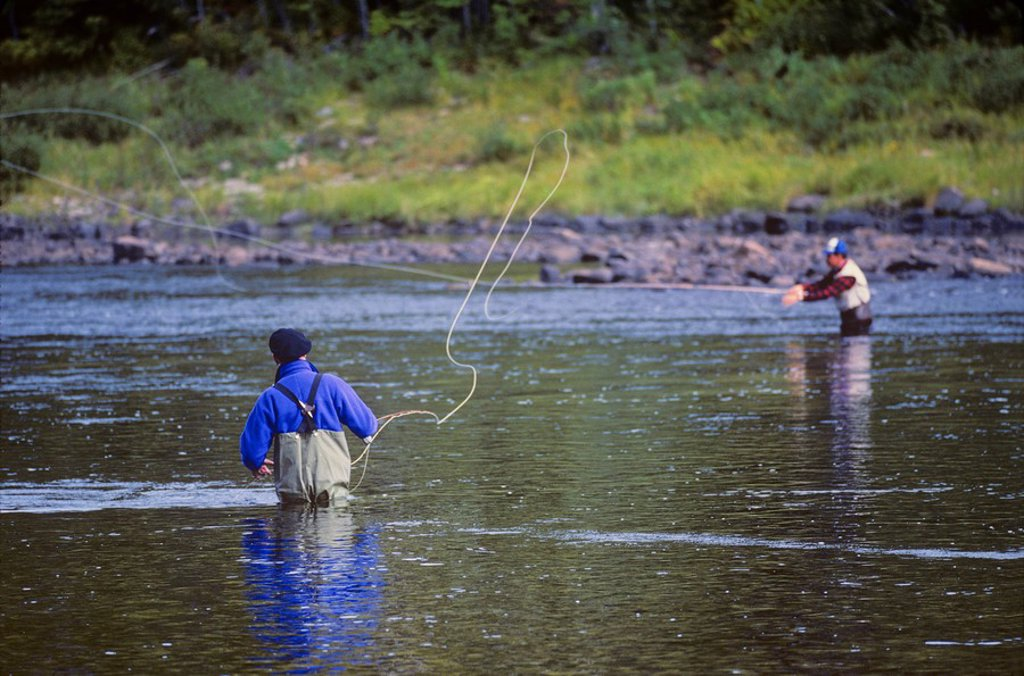 Salmon Fishing on the Miramichi River, Grey Rapids Pool, New Brunswick, Canada : Stock Photo
