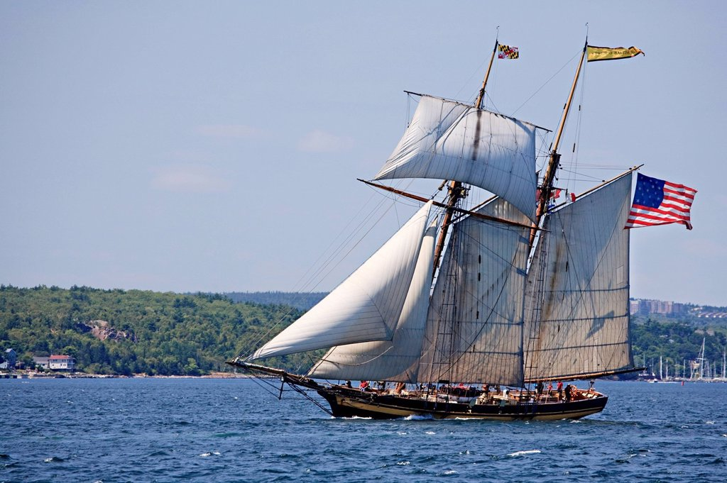 Stock Photo: 1990-67089 Sailing ship Pride of Baltimore II departs Halifax Harbour during the Parade of Sail conclusion of the 2012 Tall Ships festival in Halifax, Nova Scotia.