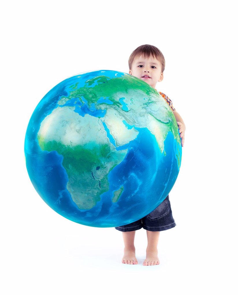 Little boy holding world blue planet Earth globe in his hands, conceptual photo isolated on white background. : Stock Photo