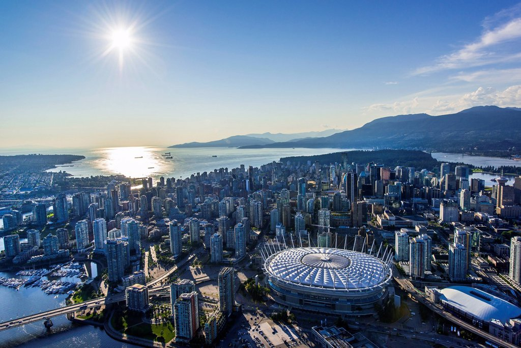 Stock Photo: 1990-67416 Aerial view over Vancouver, British Columbia,
