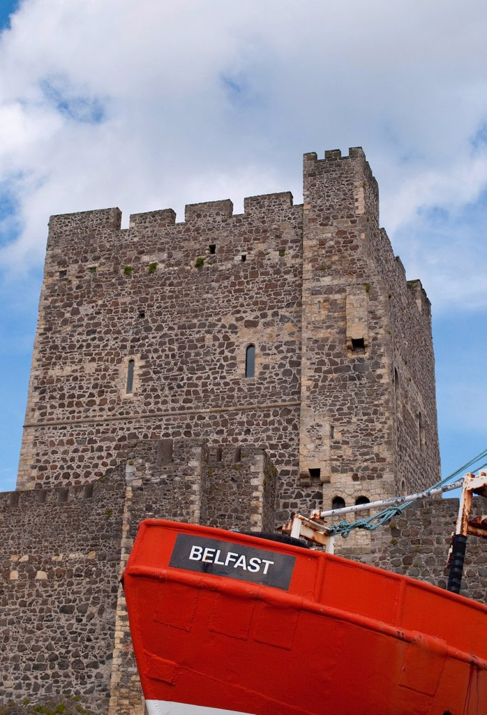 Stock Photo: 1990-68331 Fishboat Belfast, Carrickfergus Castle, a Norman castle, Carrickfergus, Northern Ireland