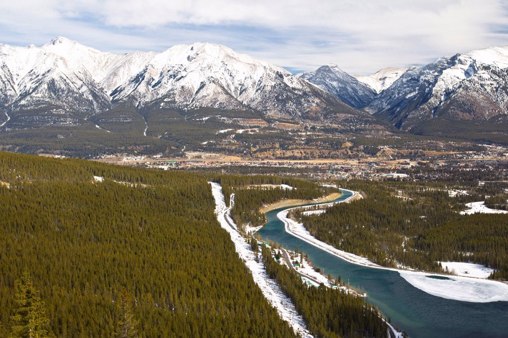 View of Canmore from Spray Trail, Alberta, Canada : Stock Photo
