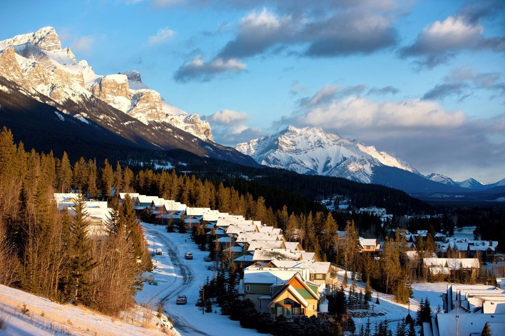 Town of Canmore at sunrise, Alberta, Canada : Stock Photo