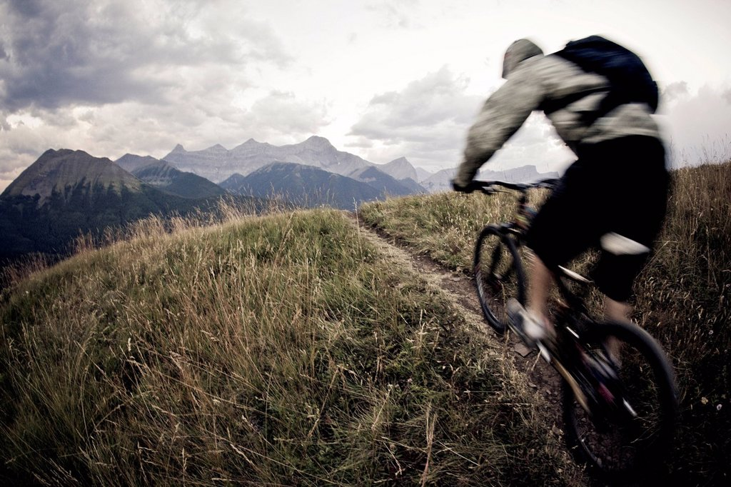 Stock Photo: 1990-71159 A man mountain biking near Canmore, AB
