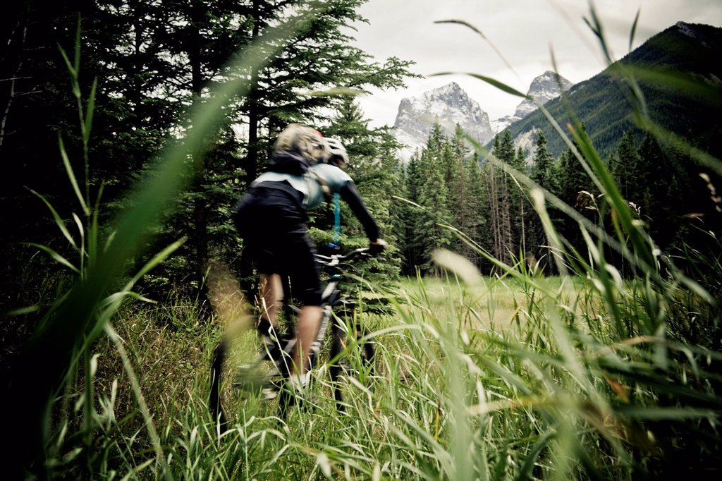 Stock Photo: 1990-71164 A female mountain biker riding singletrack in Canmore, AB