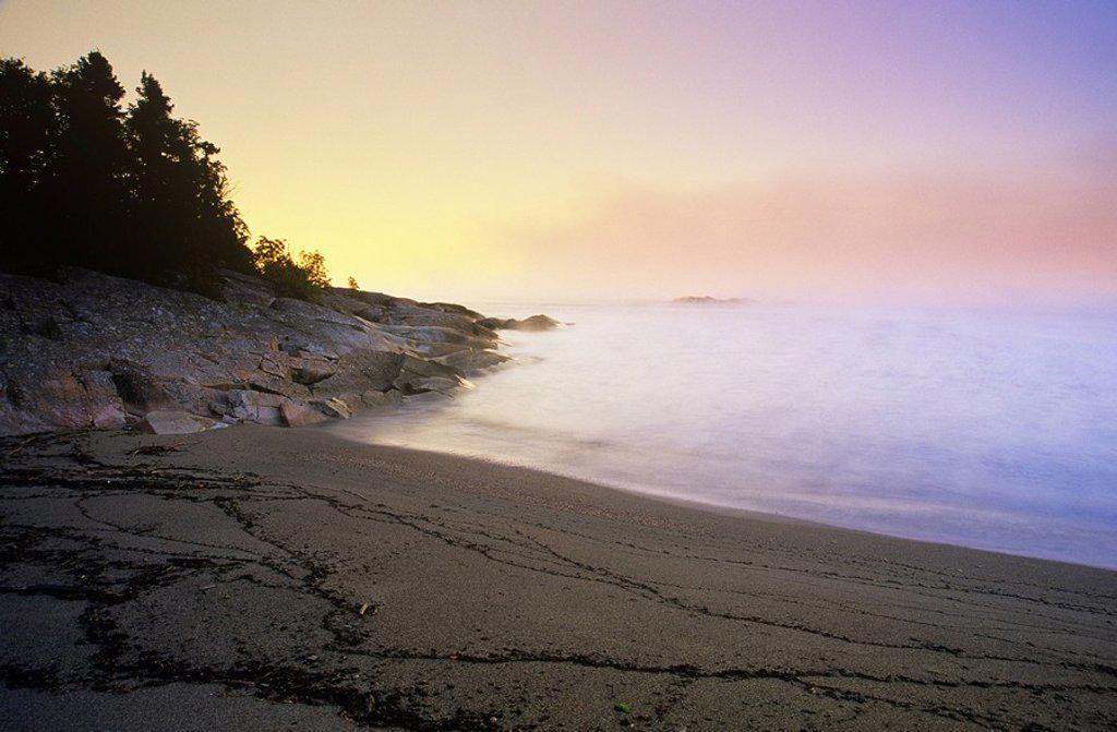 Stock Photo: 1990-7154 Sunrise on Lake Superior, Terrace Bay Beach, Terrace Bay, Ontario, Canada