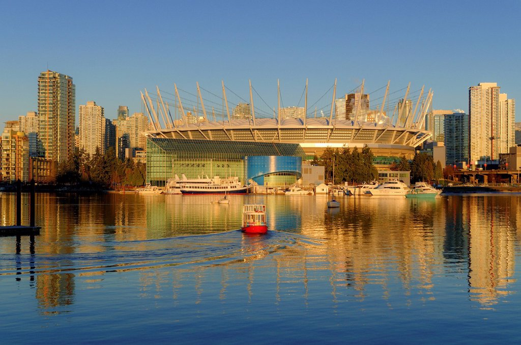 BC Place Stadium and Aquabus passenger ferry, False Creek, Vancouver, British Columbia, Canada : Stock Photo