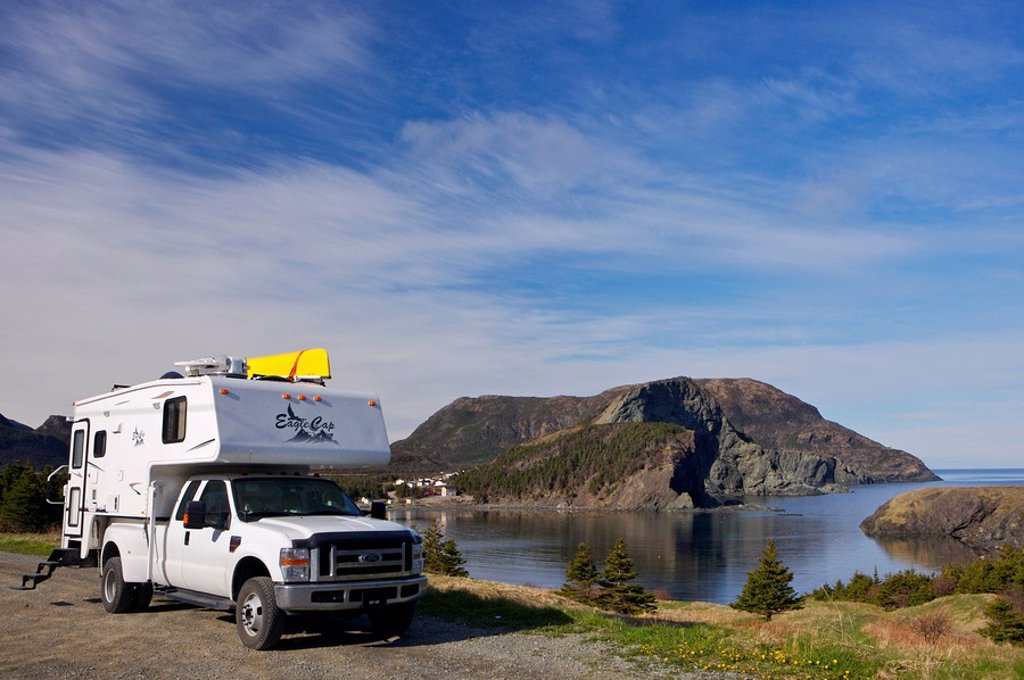 Camper parked an open area in Bottle Cove at the end of the Humber Arm near Lark Harbour, Newfoundland & Labrador, Canada : Stock Photo