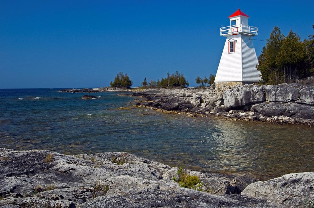 Lighthouse on Manitoulin Island, world´s largest freshwater island, South Baymouth, Ontario, Canada : Stock Photo