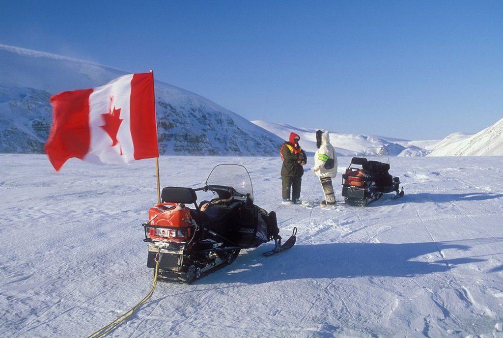 Stock Photo: 1990-9615 Snowmobiling near Sovereignty, Nunavut, Canada