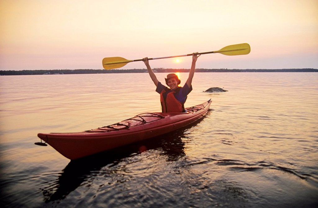 Kayaking along Nutimik Lake, Whiteshell Provincial Park, Manitoba, Canada : Stock Photo