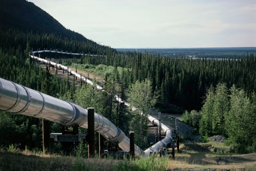 Oil pipeline passing over a landscape, Trans-Alaskan Pipeline, Alaska, USA : Stock Photo