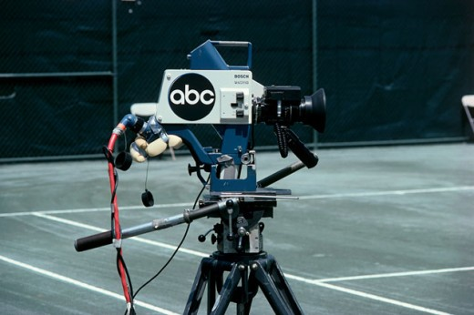 Close-up of a television camera on a tennis court : Stock Photo