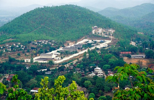 High angle view of a village, Mae Hong Son, Thailand : Stock Photo