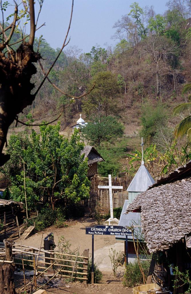 High angle view of a church, Ban Huay Pu Keng, Thailand : Stock Photo
