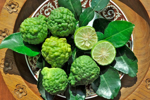 Close-up of Kaffir limes (Citrus hystix) on a plate, Thailand : Stock Photo