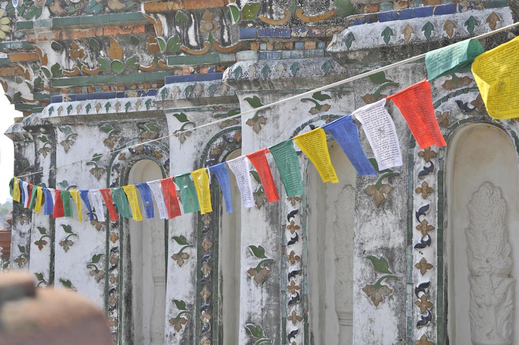 Prayer flags at a temple, Wat Arun, Bangkok, Thailand : Stock Photo