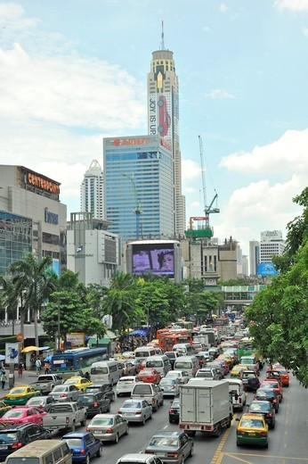 Buildings in a city, Baiyoke Tower II, Ratchathewi, Bangkok, Thailand : Stock Photo
